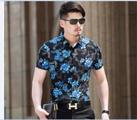 Wholesale Latest summer fashion flowers hawaiian men short sleeve mercerized cotton shirt M XXXXL size
