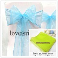 Wholesale Blue quot cm W x quot cm L Sheer Organza Sashes Wedding Party Banquet Chair Organza Sash Bow