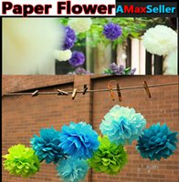 Wholesale 6 quot cm quot cm Colorful Tissue Paper Flowers Ball Craft paper flowers Pom poms for Christmas wedding Party Birthday decoration Supplies