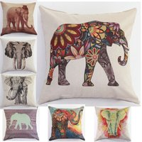 Wholesale 2015 Printed Elephant Cushion Without Core Custom Cotton Linen Decorative Throw Pillows Sofa Chair Cushions Home Decor cm
