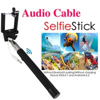 Aluminum Alloy audio cables gifts - Z07 Plus Z07 S Gift Portable Audio cable wired Selfie Stick Handheld Extendable Monopod iOS Android Self Timer For iPhone Samsung