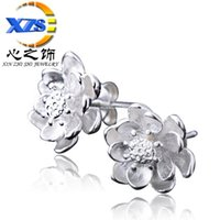 Cheap 1 Pair! 2015 women girl S925 sterling silver jewelry earrings Chinese style lotus earrings Fashion Jewelry fashion jewelry wholesale