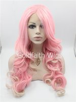 Cheap Blonde Pink Mix Cosplay Long Fashion Wavy Lace Front Synthetic Wig Party Stylish Heat Resistant Wig