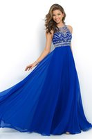 Wholesale 2015 Cheapest Backless Prom Desses Formal Dresses Sheer Neckline Chiffon Beading Evening Dresses Sexy Beaded Waist A Line Formal Gowns