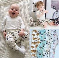 Wholesale 6 Design kids INS pp pants fashion baby toddlers boy s girl s animal raccoon panda tent wheels geometric figure pants trousers Leggings B001