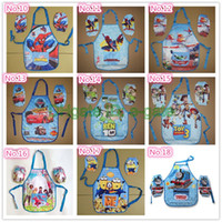 art smock - 24 styles Kids boys girls Childrens Cartoon Cooking Art Painting Smock Apron Set Sleeveless Aprons Oversleeves Cars Mickey Winnie
