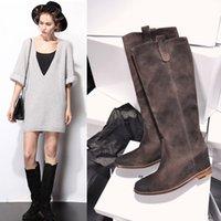 altura de gamuza cálido botas de aumentar la rodilla cuña de grises de invierno botas de cuero negro las mujeres para mujer botas de cuero marrón