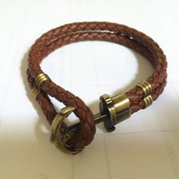 Wholesale PH logo design genuine braided leather with vintage antique brass anchor bracelet