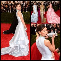 baby met - Baby Blue Fashion Lily Aldridge Met Gala Long Mermaid Celebrity Evening Gowns High Collar Button With Ruffles Red Carpet Dress