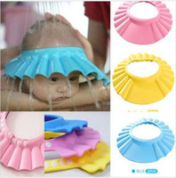 Wholesale 1500 BBA3902 adjustable infant shampoo cap bath cap Baby shower shampoo waterproof cap hat Bathing Shower Cap Hat Wash Hair Shield hat cap