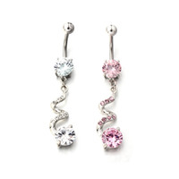 Wholesale 20Pcs New Arrived G Belly Ring Spiral Dangle W Clear CZ Navel Body Jewelry Piercing