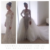 anne free - 2015 New Natalie Anne Long Sleeve Lace Applique Wedding Dresses with Sheer Tulle Detachable Trailing Floor Length Bridal Gown