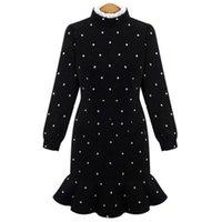 Cheap Big Promotion! Spring Autumn Black Dot Women Dress Long Sleeve Slim Lady Clothing Sexy Fish Tail Dress Asia Size S-XL XA0197