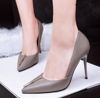 Cheap European Fashion Sexy Shallow Mouth Pointed PU High-Heeled Shoes Brown  Grey Black