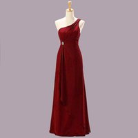 Cheap 2015 One Shoulder Ruffles A Line Chiffon Maxi Long Dresses Fashion Bridesmaid Dresses Cheap Customer Made