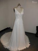 Wholesale Suzhou Wedding Dress V Neck - Real Picture Amelia Sposa V-neck A-line Crystal Beaded Bodice White Chiffon Suzhou Beach Wedding Dress