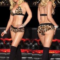 asian sexy lingerie - Women Sexy Lingerie Night Sleepwear Leopard Bra Nightwear Black Asian M L