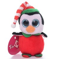Wholesale Official Collection Christmas Red Happy Penguin Plush TY Beanies Chain Toy