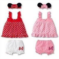 infant girl dresses - NEW ARRIVAL baby girl infant toddler pc sets outfits Minnie dress tanks tank tops shirt vest shorts short pants bloomers headband set