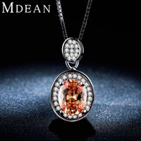 amber pendant necklace - MDEAN White gold plated necklace Fashion necklace for Women big Amber gem AAA Zircon CZ diamond Wedding Luxury Pendant MSN007