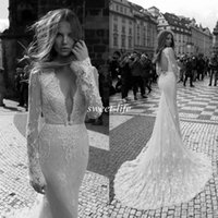 Wholesale 2015 Fall Vintage Wedding Dresses Lace Backless Mermaid V Neck Sheer Long Sleeves Chapel Train Sexy Garden Church Wedding Berta Bridal Gowns