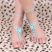 aqua wedding shoes - Beach wedding crochet wedding barefoot Sandals Nude shoes Foot jewelry Lace bracelet Yoga shoes Bridal anklet ankle bracelet