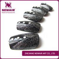 belt fashion tips - brand belt New brand classic short nail tips black with glitter design fake nails fashion manicure diamond nails wedding false nail art