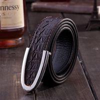 Wholesale 2016 New genuine Leather crocodile grain business mens belts luxury Designer brand Belts For Men High quality Jeans pants belts