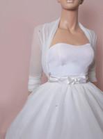 Wholesale 2017 Simple Wedding Bridal Bolero Jackets Tulle Waist Length White Ivory Custom Made Wedding Cloaks Wraps Capes Shrugs