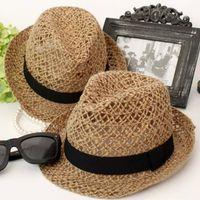 Wholesale Unisex Summer Hollow Out Jazz Sun Hat Trilby Fedora Straw Panama Wide Brim Outdoor Climbing Beach Cap