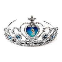 Wholesale New Frozen Anna Elsa Tiara Crown Hair Band Sparking Crystal Cubic Zirconia Paved For Children Girl Mix Models