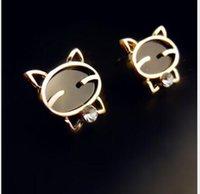 allergies cats - 1 CM Cartoon cat KT diamond black allergy alloy stud earrings High grade summer birthday valentine s day jewelry H29