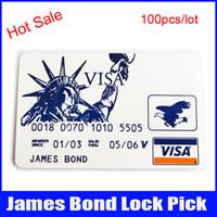 auto credit - 100pcs hot sale james bond pocket lock pick credit card locksmith tools lock pick easy take everywhere