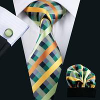 mens neckwear - Multi Stripes Mens Neck Tie Set Lapel And Handkerchief Fashion Silk Jacquard Neckwear Brand Necktie Woben Ties For Men N