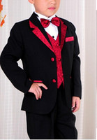 attire clothes - Children s Clothing Kids tuxedo attire boys suits for wedding shirt and tie sets with waistcoat trousers jacket stage costume