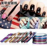 Wholesale 20m roll Nail Art Decoration Stickers Decals nail tools Fashion Metallic Yarn Line Mix Color Rolls Striping Tape