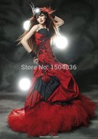 gothic design corset - Unique Design Mermaid Vestido de noiva Red And Black Corset Feather Black Bridal Gown Gothic Victorian Wedding dress