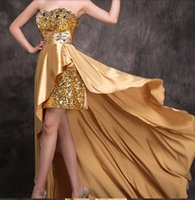 sequin elastic - Brilliant A Line Evening Gowns Sweetheart Hi Lo Zipper up Sleeveless Beads Crystal Sequins Elastic Satin Prom Dresses CL0535