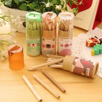 Wholesale Kawaii Mini Bear Colored Pencil with Pencil Sharpener Boxed Package Creative Stationery FOD