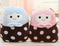 air pillows packaging - Cute cartoon Russian dolls blanket pillow cushion for leaning on is air conditioning package On board coral blanket