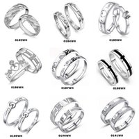 Wholesale Couple rings Sterling Silver Charms Lovers Rings adjustable Vintage Rings WH