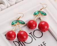 big earrings - Big Cute Cherry Earring New Arrival Lovely Cherry Earring Sweet Girls Fruit Earring Summer Green Leaves Red Cherry Jewelry JE06361