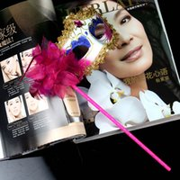 Wholesale New Gold Cloth Coated Flower Side Venetian Masks Halloween Masquerade Party Mask on stick Handheld Freeshipping