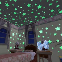 Wholesale Christmas Glowing Star - 100PCS=1 set Christmas Halloween Children's Day Wall Stick Home Glow In The Dark Stars Wall Stickers Decal for Kids Baby Rooms Sticker YH025