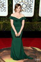 Wholesale 2016 Golden Globe Award Rachel Bloom Green Celebrity Dresses Sexy Off Shoulders Ruffles Mermaid Sweep Train Long Backless Evening Prom Gowns