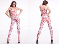 Cheap HOT 2013 SEXY Fashion BLOOD SPLATTER CATSUIT Teddy Overall Clothes Club Costume Jumpsuit For Women S126-19