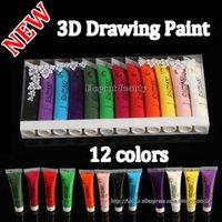 Cheap wholesale new Acrylic UV Gel Design 3D Paint Tube Nail Art Pen 12 Colors Nail Polish False tips Drawing 12pcs lot Free Shipping