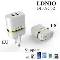 Cheap HIGH QUALITY 2.4A Dual 2 port USB USA EU Plug Wall Charger For iPhone 4S 5 6 for iPad Mini for SAMSUNG LDNIO 100PCS