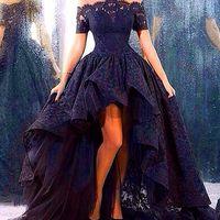 short front long back dresses - Black Lace Front Short Long Back Puffy prom gown Elegant party dress Hi Low Dubai Arabic short sleeve evening Dresses