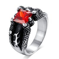 diamond solitaire - Vintage Retro Men s Eagle Claw Red Gemstone Ruby Titanium Steel Diamond Solitaire Rings Punk Style